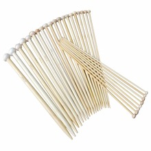36Pcs 18 Sizes Bamboo Knitting Needles Single Tip Point Round Crochet Needles Household DIY Weaving Knitting Tools(China)