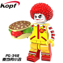 Single Sale PG348 Super Heroes Mc. Donald Ronald McDonald with Joker's Face Classic Bricks Building Blocks Children Gift Toys(China)