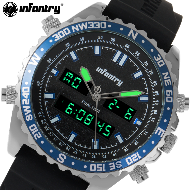 INFANTRY Top Luxury Military Sports Men Watches Dual Display Quartz Waterproof Clock For Mens Wristwatches relogio masculino<br>