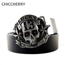 New Fashion Lucky 13 Tattoo Your Soul Skull Belt Buckles Men Metal with Black Pu Leather Belts for Men Jeans Cintos Fivelas(China)