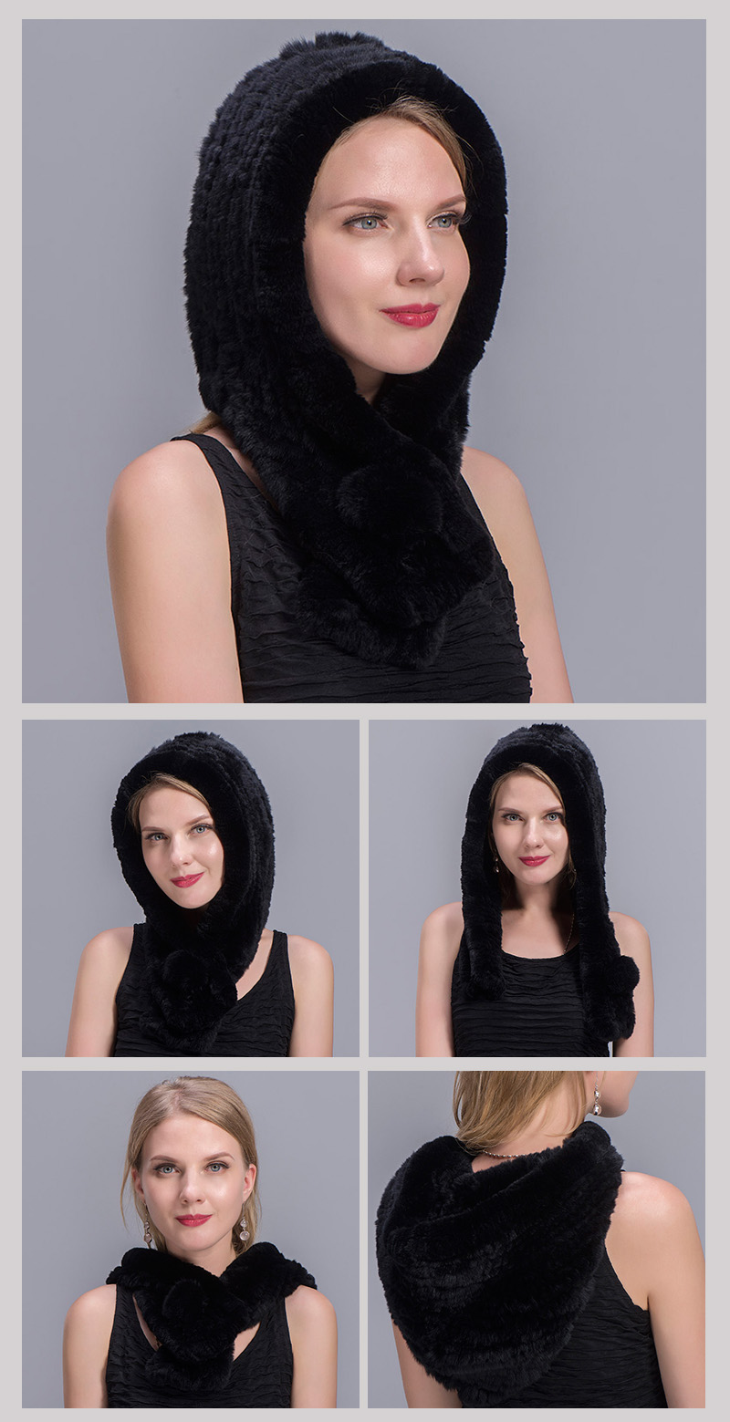 rex rabbit fur scarf hat black 00