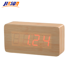 JINSUN LED Wooden Alarm Clock Temperature Thermometer Digital Table Clock Voice Activated Acoustic Control Sensing KSW105-WH(China)