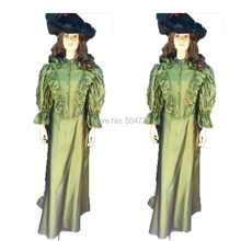 Royal Green Taffeta 18th Georgian Marie Antoinette Duchess Queen regency  Renaissance Reenactment medieval dress HL-223 351b957f0c69