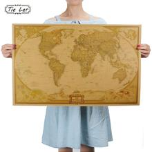 TIE LER Vintage Retro Matte Kraft Paper World Map Antique Poster Wall Sticker Home Decora 72.5*47.5CM