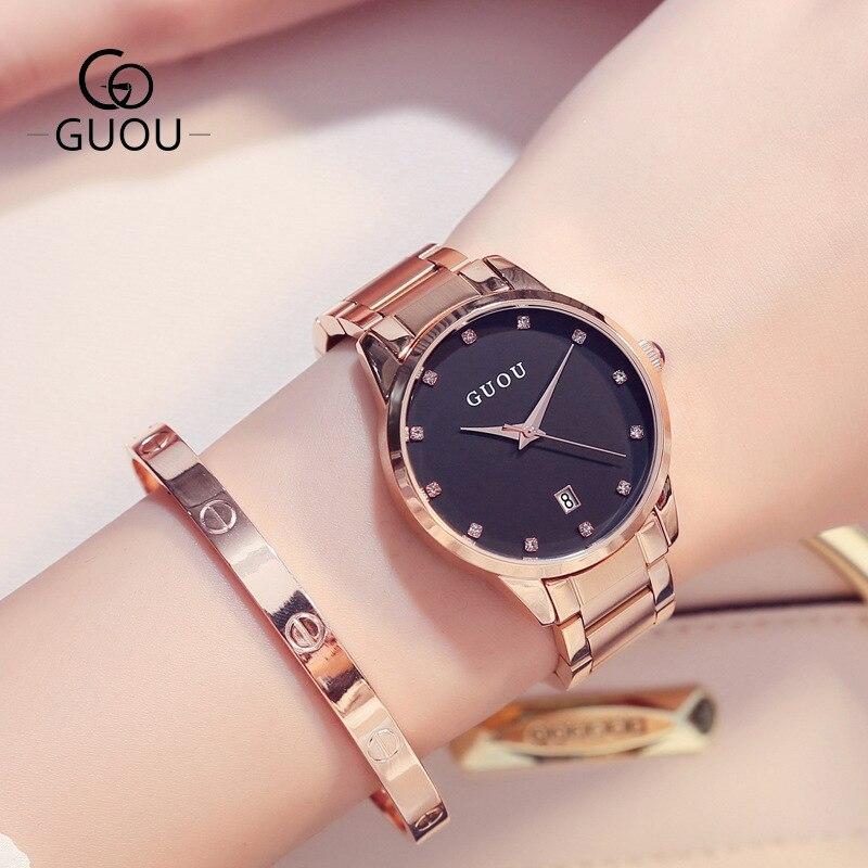 Full Steel Female Luxury Quartz Wristwatches Women Rose Gold Japan Quartz Movement Bracelet Dress Watch Women relojes mujer 2018<br>