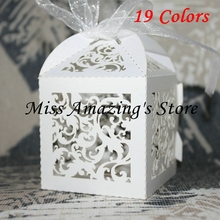 50pcs Laser Cut Paper Candy Gift Chocolate Sweet Boxes with Ribbon Wedding Party Baby Shower Decoration Favors