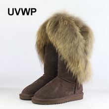 UVWP Fashion Natural Real Fox Fur Women's Winter Snow Boots Warm Long Boots Genuine Cow Leather High Winter Boots Women Shoes