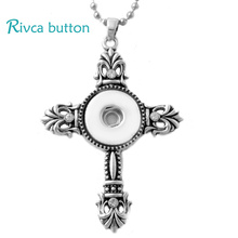 P00722 Snap Button Pendant Man With Charm Stainless Steel Chain Cross Necklace For women Fit 18/20mm Rivca Snap Button Jewelry