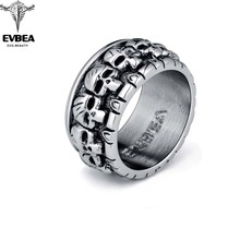 Graduation Rock Roll kpop Silver Gothic Punk Lots of Baby Skulls Big Rotating Bikers Bible Rings Men's & Boys' Jewelry(China)