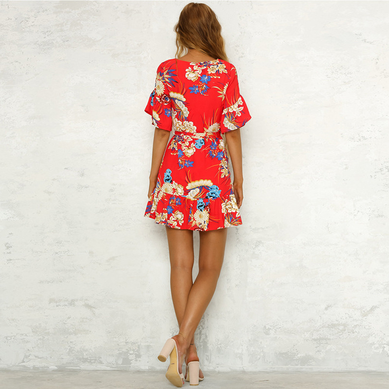 Lossky Summer Women Beach Dress 2018 Bohemian Floral Print Boho Dress O-Neck Short Sleeve Ruffle Mini Chiffon Dress With Belt 27