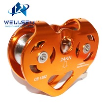 24KN Zipline Cable Trolley Aluminum Pulley / Dual Pulley / High Speed For Rock Climbing / Rescue / Garden and Home Working