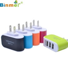 Factory Price BINMER New 3.1A Triple USB Port Wall Home Travel AC Charger Adapter For S6 US Plug Free Shipping