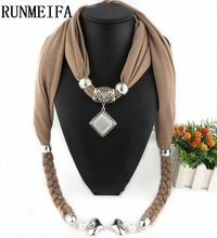 [RUNMEIFA] 2017 Hot Selling Fashion Design Women/Lady's Jewelry Scarf Necklace Tassels Pendant Scarves