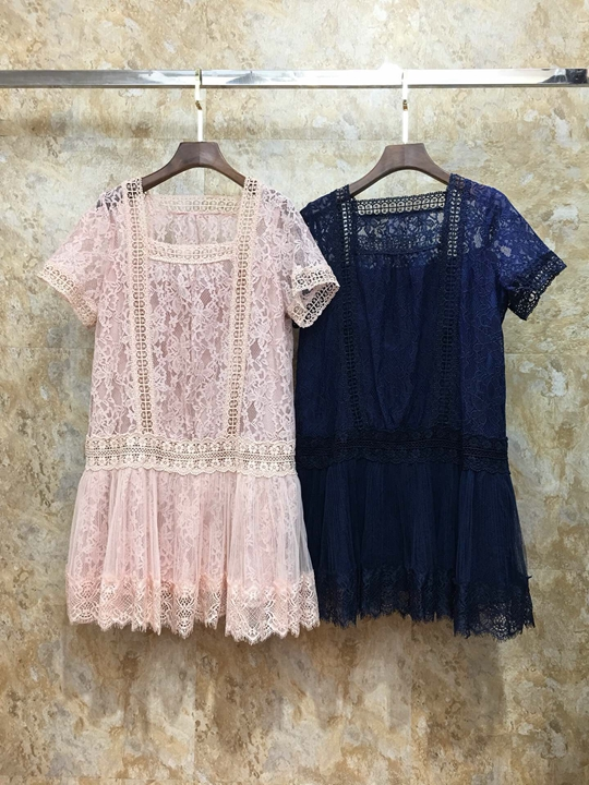 Summer 2019 New Women's Neck and Net Yarn Spliced Lace Pure Short Sleeve Dress 518