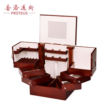 0 high-end jewelry box wooden box with European Princess Makeup Mirror wood dressing box storage box(China)