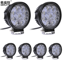 GERUITE 6PCS 27W MINI LED 12V-24V LED WORK LIGHT SPOT FLOOD FOG LAMP FOR OFF ROAD BOAT TRUCK ATV 9x3 LED DRIVING LIGHT(China)