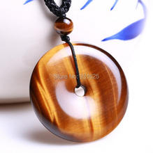 Natural Tiger's Eye Gem Pendant Hand Carved Safety Buckle Lucky Blessing Pendant + free rope Necklace Fine Jewelry