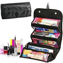 Special makeup bag portable wash travel bag black cosmetic roll up storage bag travel pouch sponge organizer