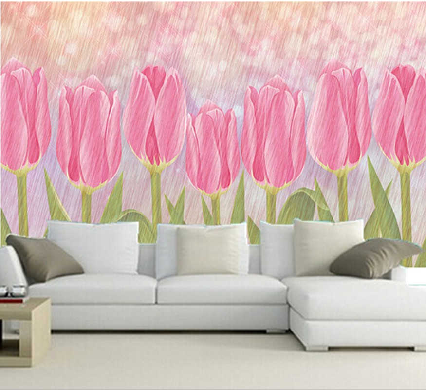 Custom 3D murals,beautiful art pink tulip flowers papel de parede,hotel coffee shop living room sofa TV wall bedroom wall paper<br>