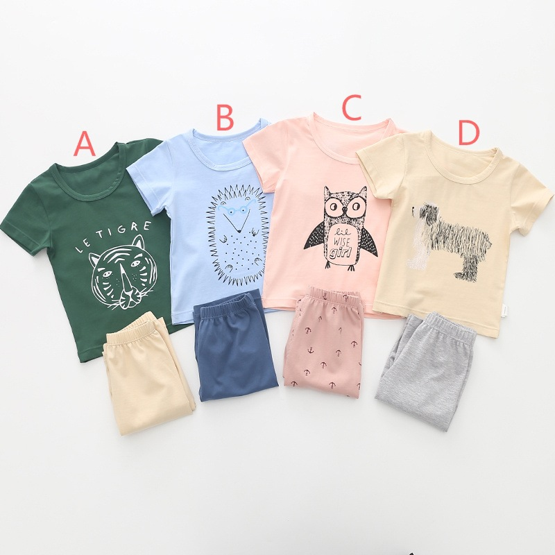 (6Pcs/lot) Summer Children Cartoon Clothes Sets KidsShort Sleeve Shirt Animal Printed Clothing Sets Baby Boy Girl Sport Suits