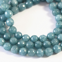 Blue natural stone 4mm 6mm 8mm jades chalcedony faceted round loose beads fit diy women necklace jewelry 15inch B20