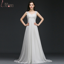 Real Photos A-line 2017 Maternity Wedding Dresses Beach Party Sleeveless Lace Appliques Bridal Gown Vestidos De Noiva Mariage(China)