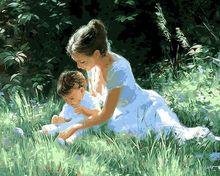 Modern Decoration diy oil painting Picture  Grass mother and child Frameless By Numbers Home Figure Pictures Home decoration