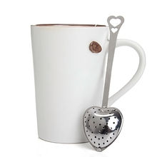 2015 Heart Shape Stainless Steel Tea Infuser Spoon Designer Strainer Steeper Handle Shower Tea Strainer Tool
