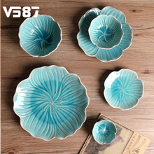 Daffodil Ceramic Crackle Glaze Plates Bowls Dishes Home Wedding Birthday Party Table Decorative Cutlery Dinnerware Supplies