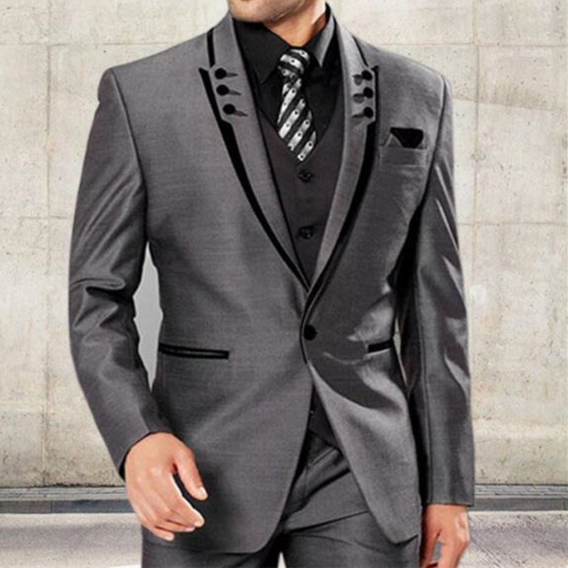 12 Men Suits Slim Fit Peaked Lapel Tuxedos Grey Wedding Suits With Black Lapel For Men Groomsmen Suits One Button 3 Piece