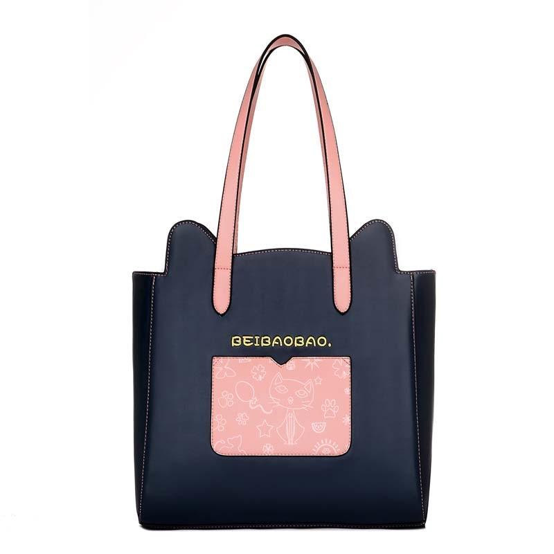 2PCS Women Shoulder Handbag PU Leather Lady Handle Animal Cute Cat Printed Large Bag Women Message Bags SS0119<br>
