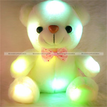 25CM Cute Small Colorful LED Flash Light Bear Plush Stuffed Doll Toy Gift KTK