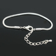 DoreenBeads 2016 Wholesale 4 PCs Silver color Lobster Clasp Snake Chain Bracelets for Women Men Fit European Charm 19cmx2.5mm(China)