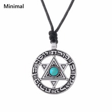 Minimal Viking Pendant &Necklace Star of David Hebrew Jewish Jewelry Blue Rrinstone Wicca Jewelry Accessories