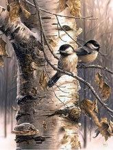 Алмазная Вышивка Узор 5D DIY Алмазная мозаика белая береза птицы алмазов картина вышивки крестом полный круглый горный хрусталь головоломки(China)