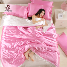 ParkShin Silk Satin Bedding Set Solid Color Bed Linen Pink and White Duvet Cover Set Soft Tencel Flat Sheet 3Pcs or 4Pcs
