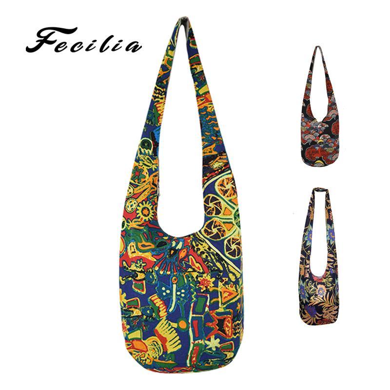 Fecilia New Hobo Sling Hippie Crossbody Bag Bohemian Cotton Canvas Hand Woven Shoulder Bags Women Vintage Bucket Bag Hipster Bag