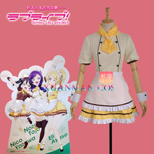 Love Live Nozomi Tojo Cosplay Costume Awakening Girl Maid Suit Cafe Loita Dress Custom Made Clothing with Apron W0952-5(China)