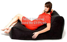 COVER ONLY , no filler -Extra Man size Black bean bag chair, home seat furniture, outdoor beanbag sofa seats