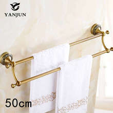 Brand New Antique Brass Luxury Double Towel Bars  50CM Bathroom Accessories Christmas Decorations For Home YJ 7858-50