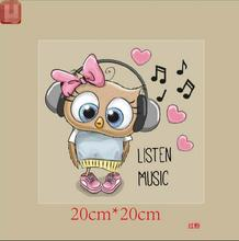 Owl listen to music Iron On Patch Fashion Dress Sweatshirt Heat Press Appliqued A-level Washable Stickers Heat Transfer(China)