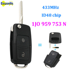 1J0 959 753 N REMOTE KEY FOB 2 BUTTON 433MHZ WITH ELECTRONICS 1J0959753N FOR VOLKSWAGEN VW PASSAT GOLK MK4 with ID48 CHIP(China)
