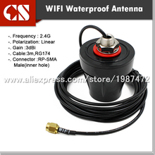 outdoor WIFI waterproof antenna,wireless antenna, 3M RG174 RP SMA male(inner hole)(China)