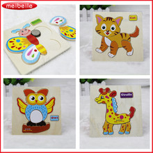 Colorful Kid Wooden Animals Cartoon Picture Block Kids Baby Educational Toys Little Child Early Development(China)