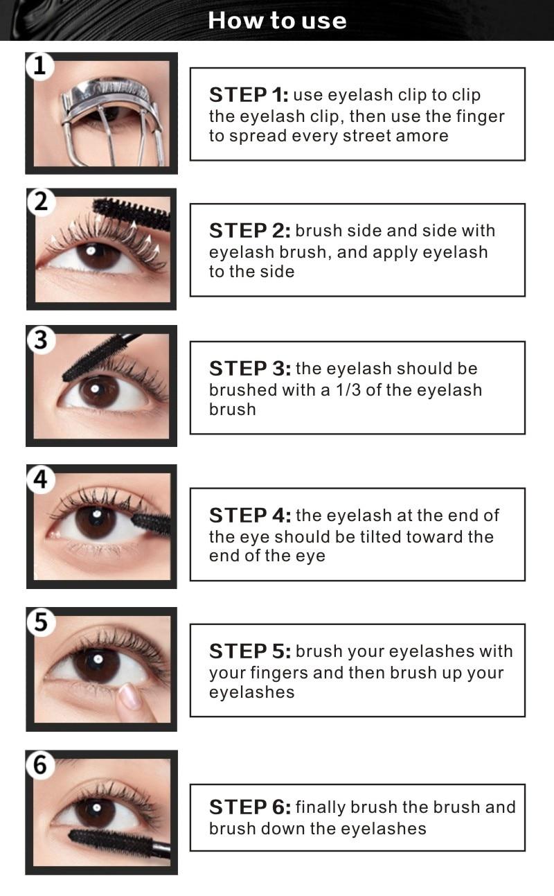 MRC Waterproof 3D Curling Mascara Long Black Volume Eyelashes Extension Brush Makeup Mascara (1)