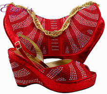 Hot selling specialty Italy matching shoes and bag with a lot of shine stone.MM1005 red color