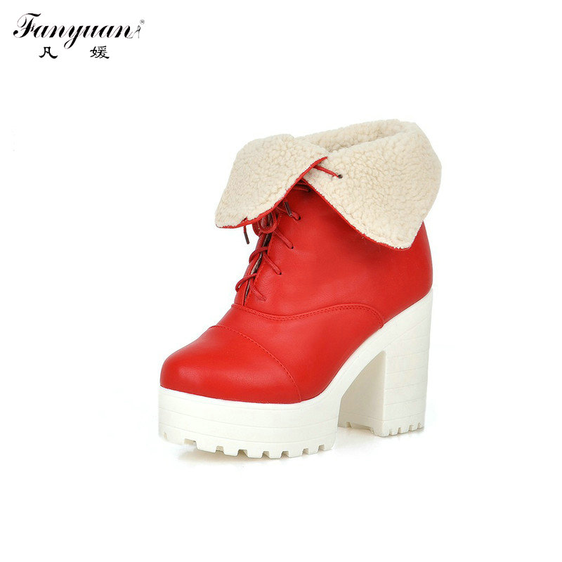 New Arrival 2017 Womens European Style Winter Motorcycle Boots Lace-up Square High Heel Boots Girls Round Toe Ankle Boots<br><br>Aliexpress