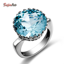 Szjinao Bud Shape Fashion Vintage Blue Crystal Romantic Big Rings for Women Wedding Engagement 925 silver Luxury Brand Jewelry(China)