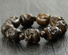 free shipping 1PCS 20MM Natural Blackwood Laughing Buddha Beads Wood Bracelet For Cool Man(China)