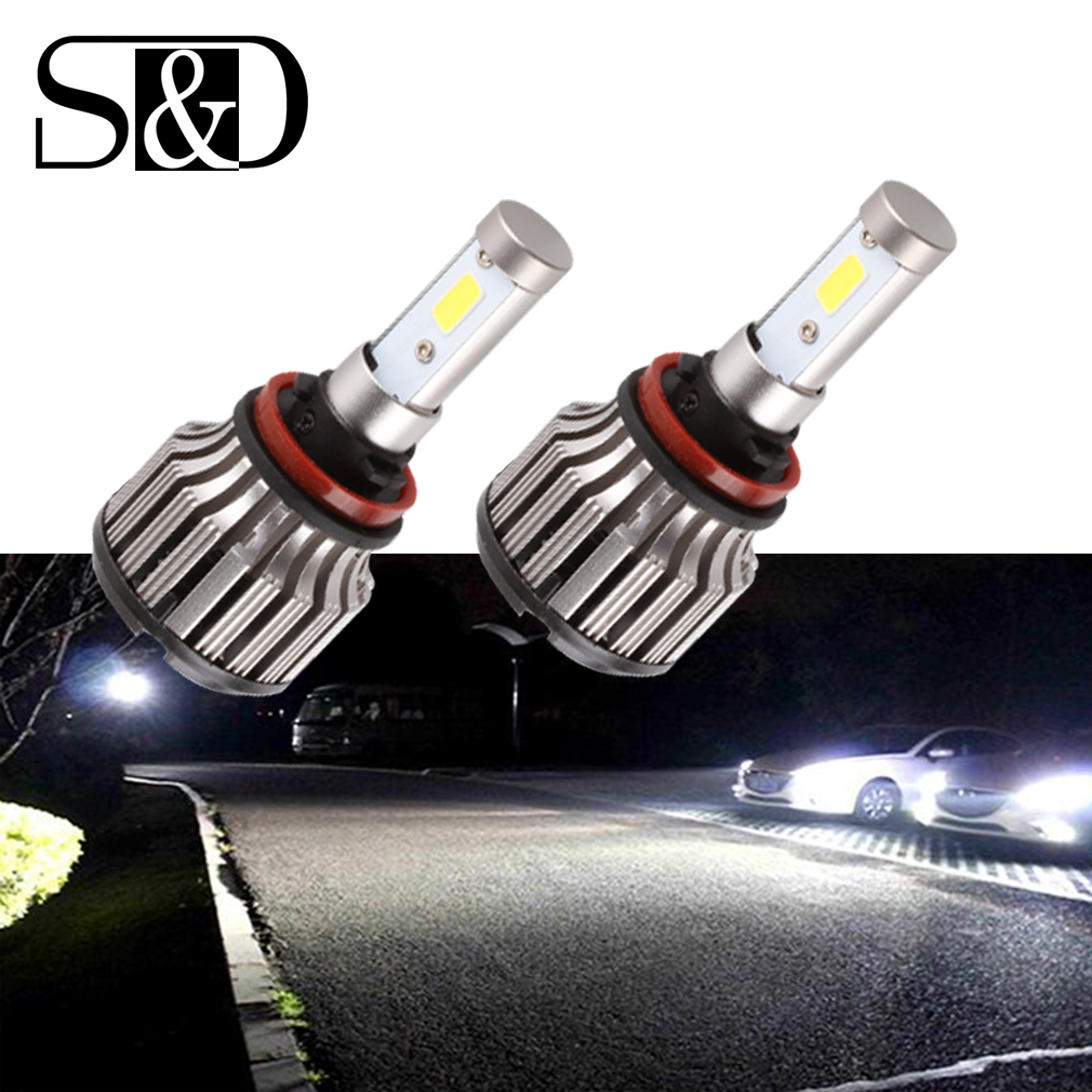 2pcs H11 H8 H9 COB LED Headlight Bulbs - 9~36V 60W 7,000Lm 30W/pc Xenon White 6000K Plug &amp; Play Conversion Kit Replacement D020<br>